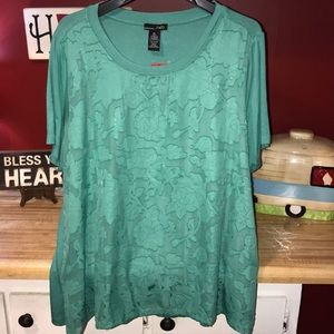 Women's RXB green top blouse floral overlay NWT